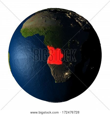 Angola In Red On Earth Isolated On White