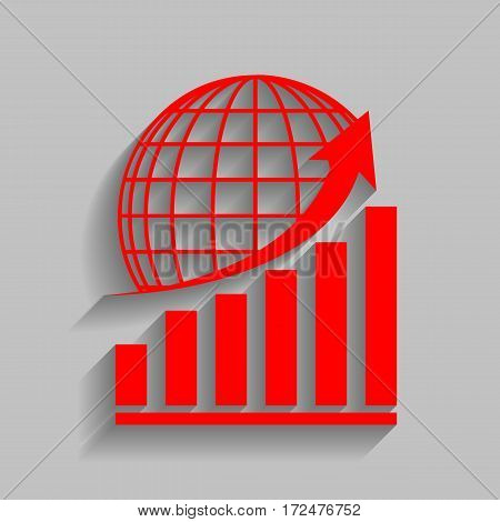 Growing graph with earth. Vector. Red icon with soft shadow on gray background.