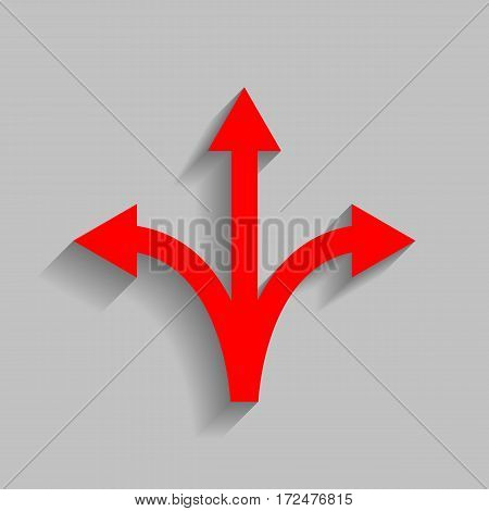 Three-way direction arrow sign. Vector. Red icon with soft shadow on gray background.