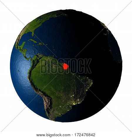 French Guiana In Red On Earth Isolated On White