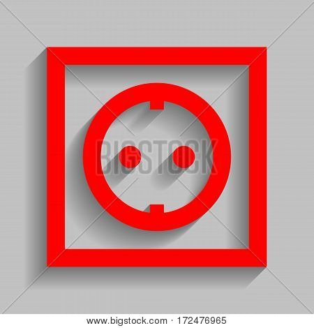 Electrical socket sign. Vector. Red icon with soft shadow on gray background.