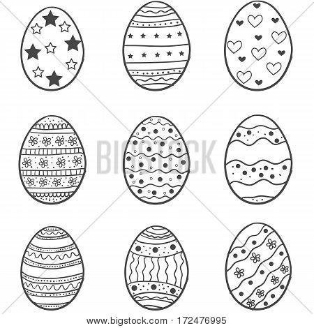 Set of easter egg doodles vector art