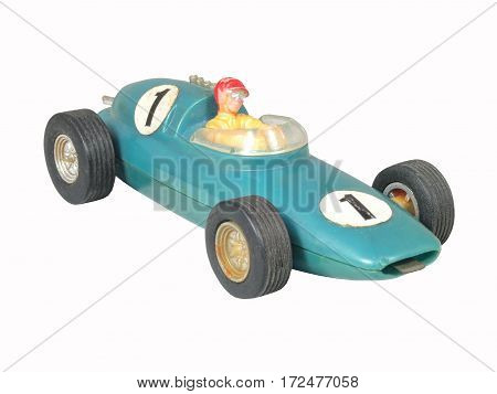 Blue race car toy / Formula One blue / isolated white