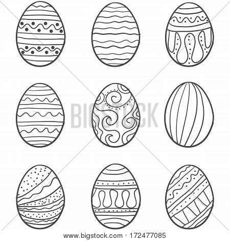 Set of easter egg vector art doodles collection stock