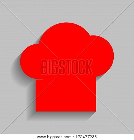 Chef cap sign. Vector. Red icon with soft shadow on gray background.