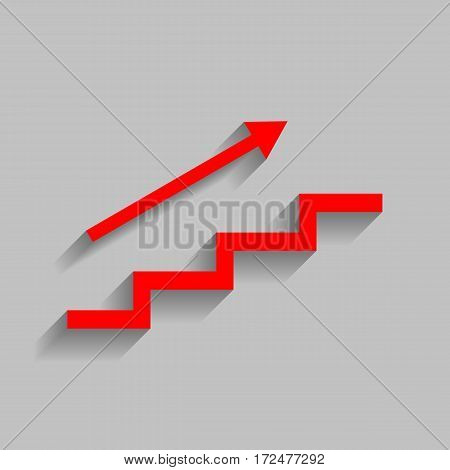 Stair with arrow. Vector. Red icon with soft shadow on gray background.