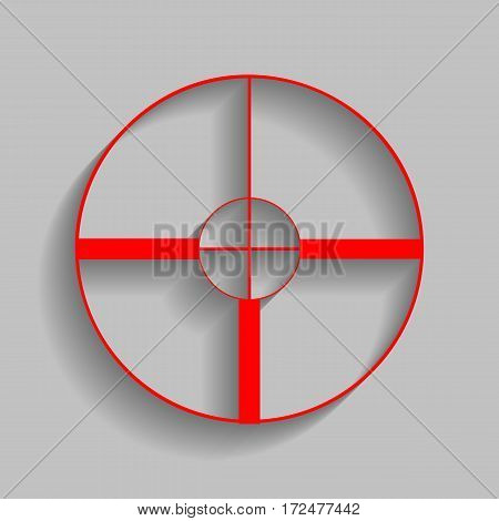 Sight sign illustration. Vector. Red icon with soft shadow on gray background.