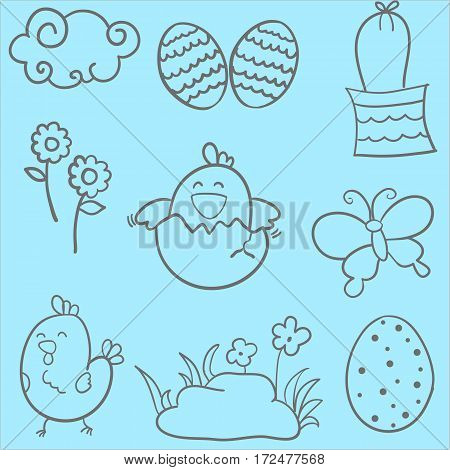 Easter style doodles vector art collection stock