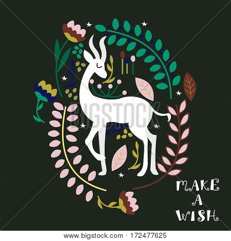 Vector illustration. Cartoon antelope surrounded by flowers. Manual inscription