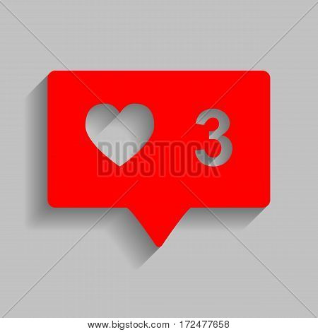Like and comment sign. Vector. Red icon with soft shadow on gray background.