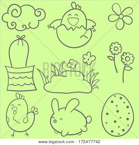 Collection of easter style doodles vector art