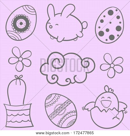 Style easter design vector doodles collection stock