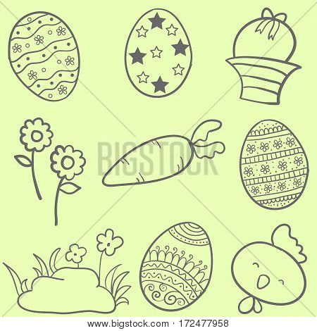 Collection stock of easter style doodles vector art