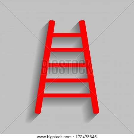 Ladder sign illustration. Vector. Red icon with soft shadow on gray background.