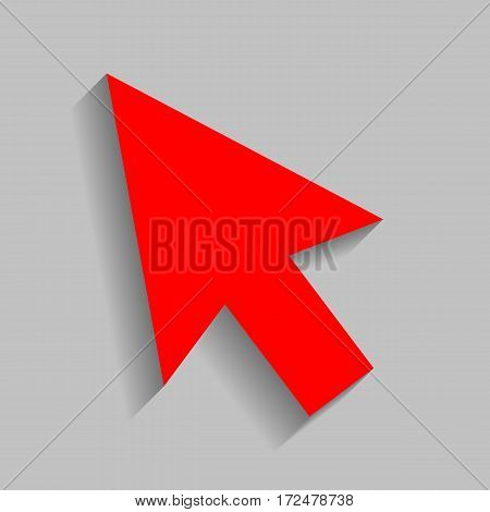 Arrow sign illustration. Vector. Red icon with soft shadow on gray background.