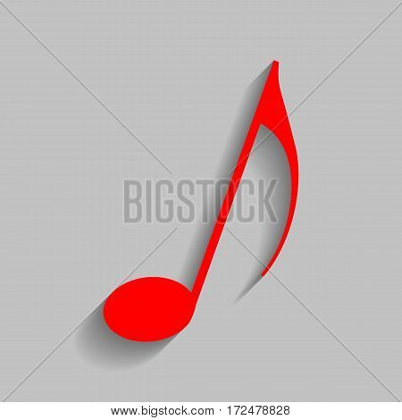 Music note sign. Vector. Red icon with soft shadow on gray background.