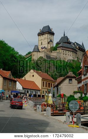 Karlstejn, Czech Republic - May 10, 2012: Famous medieval Karlstejn castle near Prague in Czech Republic