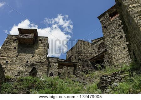 Shatili. Abandoned Fortified Village With Watch Towers In Georgia. Caucasus Mountains
