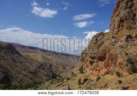 Noravank Gorge. Road to Noravank monastery. Armenia