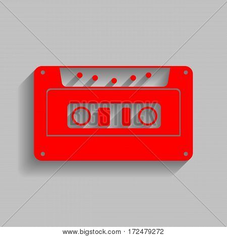 Cassette icon, audio tape sign. Vector. Red icon with soft shadow on gray background.