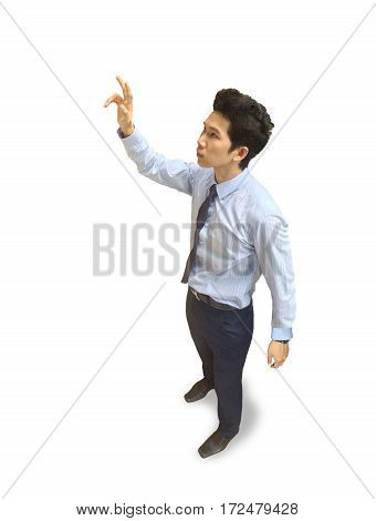 Young business man pressing the air from high angle view isolated.Greeting for graphic design about branding,technology,graphic,icon button,transparent screen,hologram,augmented reality.