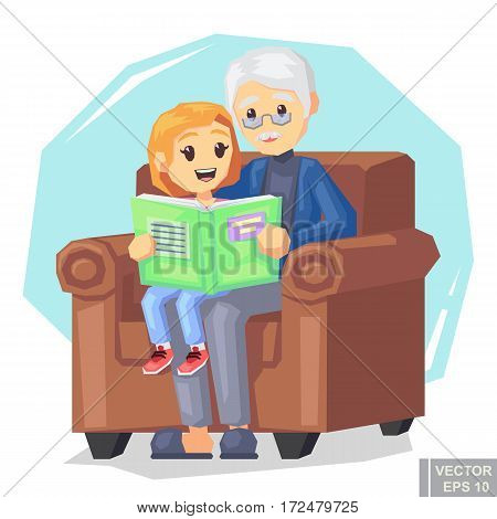 Illustration Of Kid Granddaughter Listening Their Grandfather Reading A Story