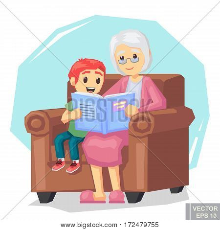 Illustration Of Kid Grandson Listening Their Grandmother Reading A Story