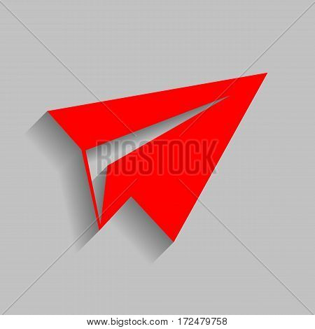Paper airplane sign. Vector. Red icon with soft shadow on gray background.