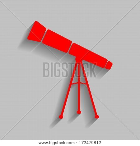 Telescope simple sign. Vector. Red icon with soft shadow on gray background.