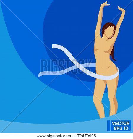A Graceful Figure On Blue