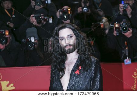 Conchita Wurst arrives for the closing ceremony of the 67th Berlinale International Film Festival Berlin at Berlinale Palace on February 18, 2017 in Berlin, Germany.