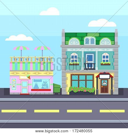 Small Town Urban Landscape In Flat Design Style,  Illustration. Buildings, Street Ice Cream Shop, Co