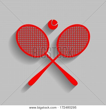 Tennis racket sign. Vector. Red icon with soft shadow on gray background.