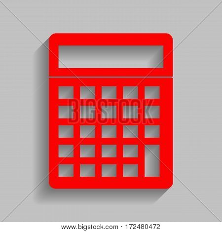 Calculator simple sign. Vector. Red icon with soft shadow on gray background.