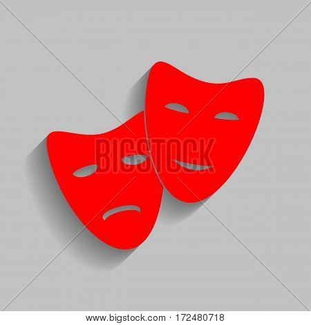 Theater icon with happy and sad masks. Vector. Red icon with soft shadow on gray background.