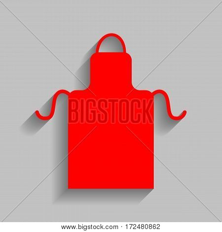 Apron simple sign. Vector. Red icon with soft shadow on gray background.