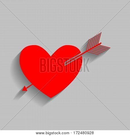 Arrow heart sign. Vector. Red icon with soft shadow on gray background.