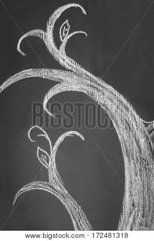 Chalk tree drawn on blackboard
