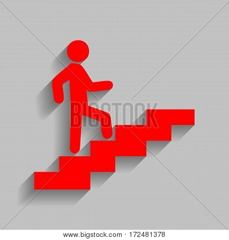 Man on Stairs going up. Vector. Red icon with soft shadow on gray background.