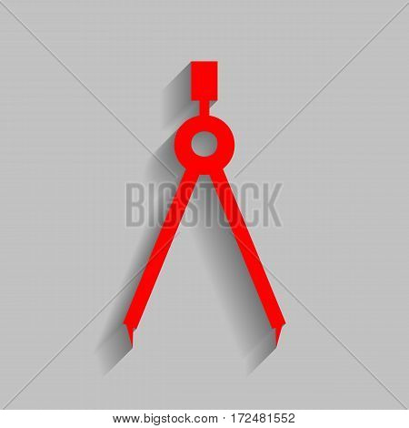 Divider simple sign. Vector. Red icon with soft shadow on gray background.