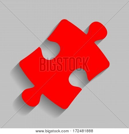 Puzzle piece sign. Vector. Red icon with soft shadow on gray background.
