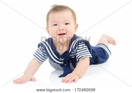 Portrait of a lovely asian baby on white background