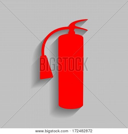 Fire extinguisher sign. Vector. Red icon with soft shadow on gray background.
