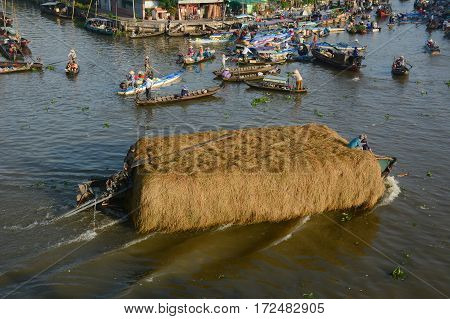 Wooden Boats On The River In Vietnam