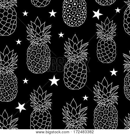 Balck and White Pineapples Stars Vector Repeat Geometric Seamless Pattrern. great for fabric, packaging, wallpaper, invitations. Surface pattern design.