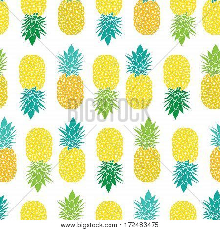 Fresh Blue Yellow Green Pineapples Vector Repeat Seamless Pattrern in Grey and Yellow Colors. Great for fabric, packaging, wallpaper, invitations. Surface pattern design.