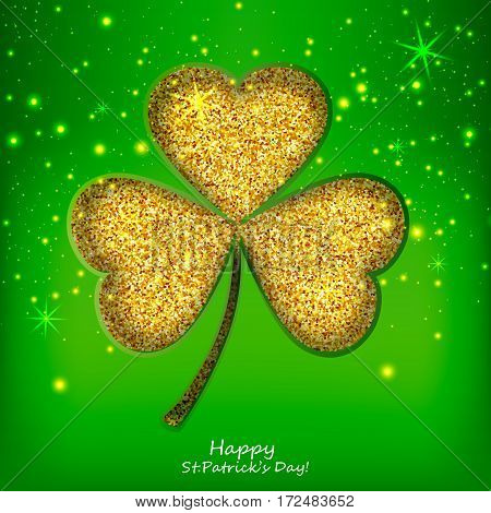 St. Patricks day background with sparkling clover