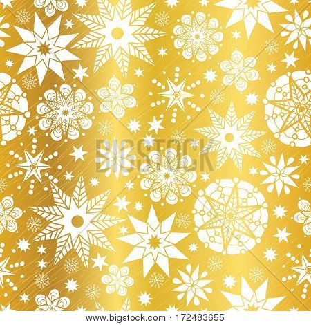 Vector Gold White Abstract Doodle Stars Seamless Pattern Background. Great for elegant texture fabric, cards, wedding invitations, wallpaper. Textile pattern design.