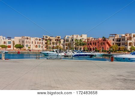 Scenic view to marina and yachts in Tala Bay, Aqaba, Jordan