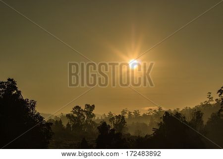 Sunrise on the mountain in morning background